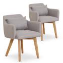 Lot de 2 fauteuils scandinaves Mels Tissu Beige
