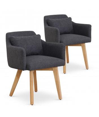 Lot de 2 fauteuils scandinaves Mels Tissu Gris foncé pas cher