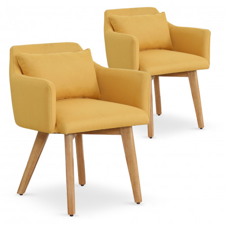 Lot de 2 fauteuils scandinaves Mels Tissu Jaune pas cher