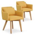 Lot de 2 fauteuils scandinaves Mels Tissu Jaune