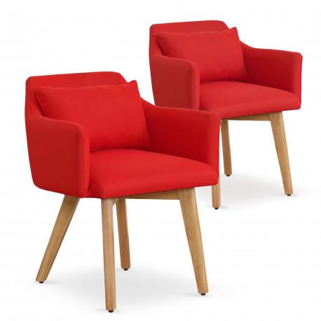 Lot de 2 fauteuils scandinaves Mels Tissu Rouge pas cher