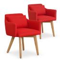 Lot de 2 fauteuils scandinaves Mels Tissu Rouge
