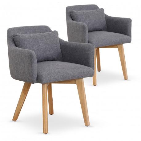 Lot de 2 fauteuils scandinaves Mels Tissu Gris clair pas cher