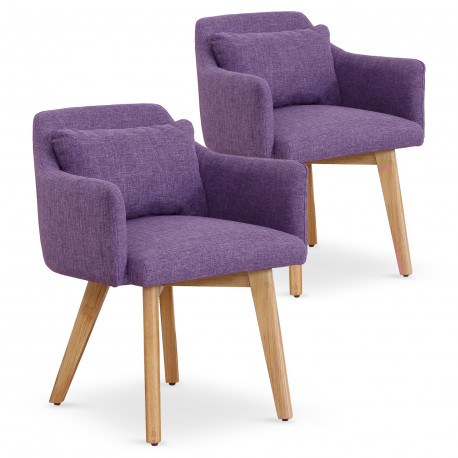 Lot de 2 fauteuils scandinaves Mels Tissu Violet pas cher