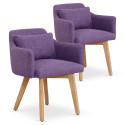 Lot de 2 fauteuils scandinaves Mels Tissu Violet