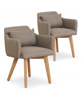Lot de 2 fauteuils scandinaves Mels Tissu Taupe pas cher