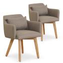 Lot de 2 fauteuils scandinaves Mels Tissu Taupe