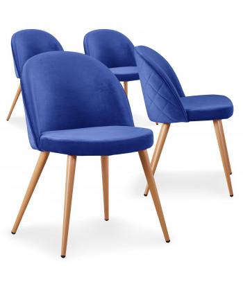 Lot de 4 chaises scandinaves Marlyn velours Bleu pas cher