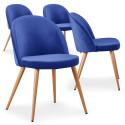 Lot de 4 chaises scandinaves Marlyn velours Bleu