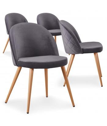 Lot de 4 chaises scandinaves Marlyn velours Gris pas cher