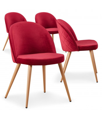 Lot de 4 chaises scandinaves Marlyn velours Rouge pas cher
