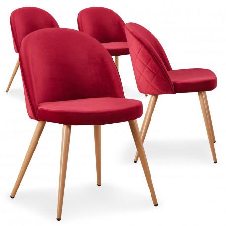 Lot de 4 chaises scandinaves Marlyn velours Rouge pas cher
