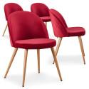 Lot de 4 chaises scandinaves Marlyn velours Rouge