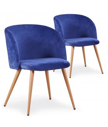 Lot de 2 chaises scandinaves Recio velours Bleu pas cher