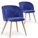 Lot de 2 chaises scandinaves Recio velours Bleu