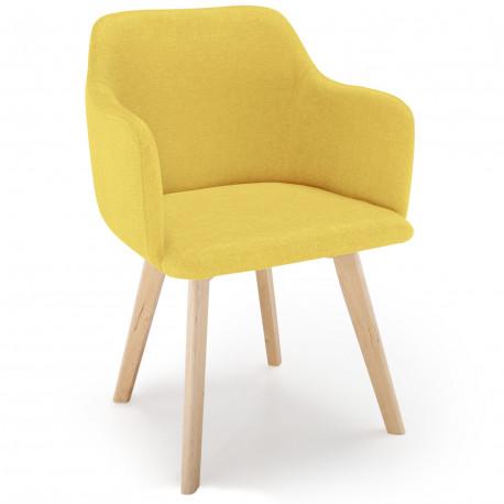 Chaise style scandinave Rygio Tissu Jaune pas cher