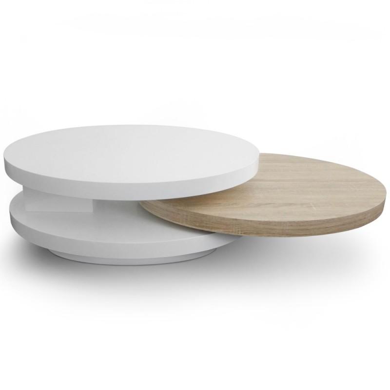 table basse plateaux tournants gala laqu blanc et ch ne pas cher scandinave deco. Black Bedroom Furniture Sets. Home Design Ideas