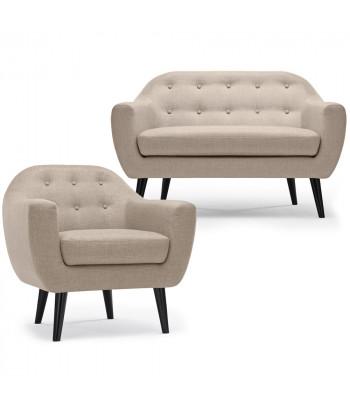 Ensemble canapé et fauteuil 2+1 places scandinave Maréo Tissu Beige pas cher