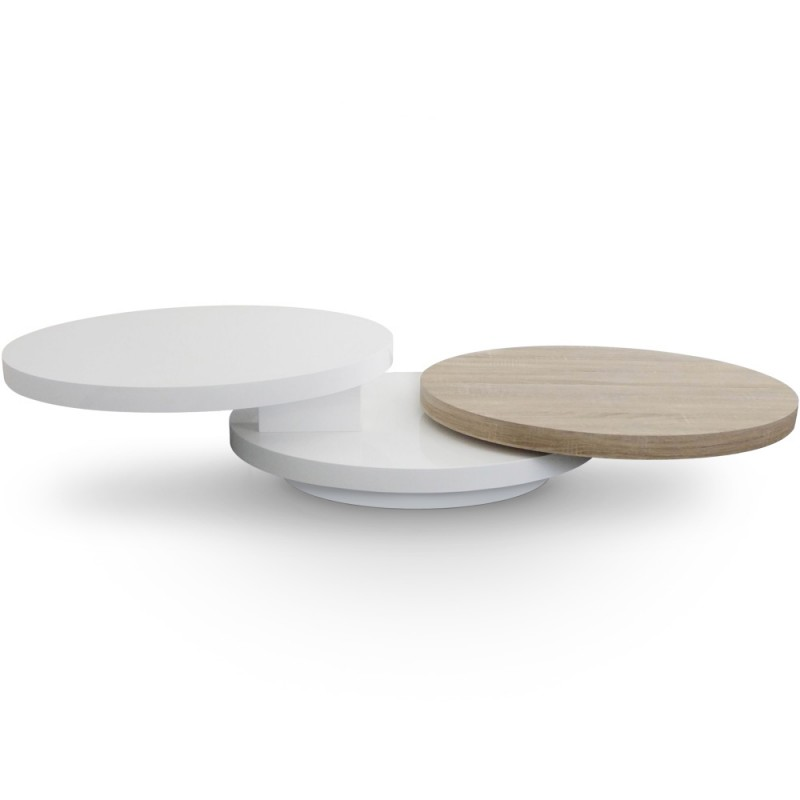 table basse plateaux tournants gala laqu blanc et ch ne pas cher scandinave deco. Black Bedroom Furniture Sets. Home Design Ideas