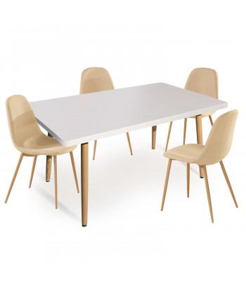 Table rectangulaire scandinave Blanche + Lot de 4 chaises scandinaves Tissu Beige pas cher
