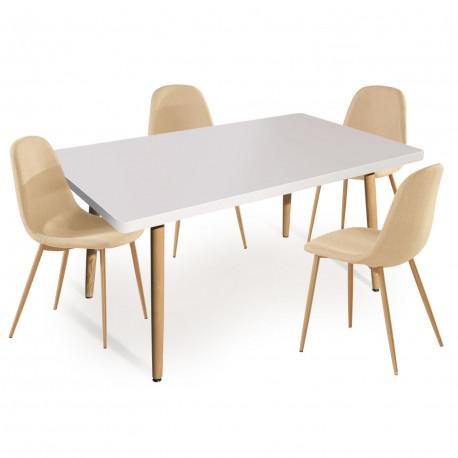 table rectangulaire scandinave blanche lot de 4 chaises. Black Bedroom Furniture Sets. Home Design Ideas