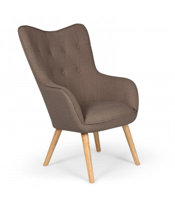 Fauteuil scandinave Silaw Tissu Taupe pas cher