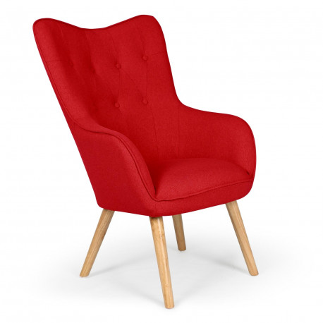 Fauteuil scandinave Silaw Tissu Rouge pas cher