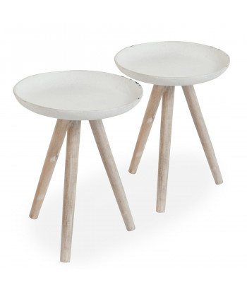 Table Basse Scandinave Bois Blanc (Lot de 2) pas cher
