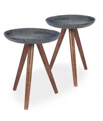 Table Basse Scandinave Bois Noir (Lot de 2) pas cher
