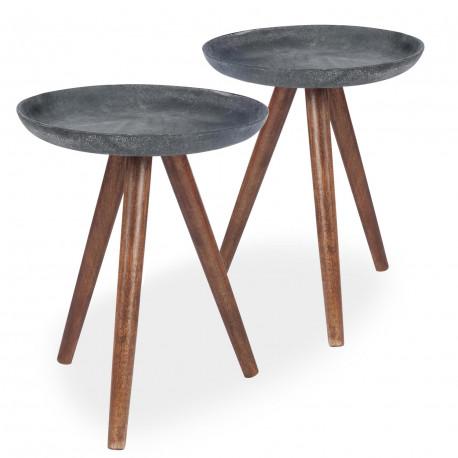 table basse scandinave bois noir lot de 2 pas cher. Black Bedroom Furniture Sets. Home Design Ideas