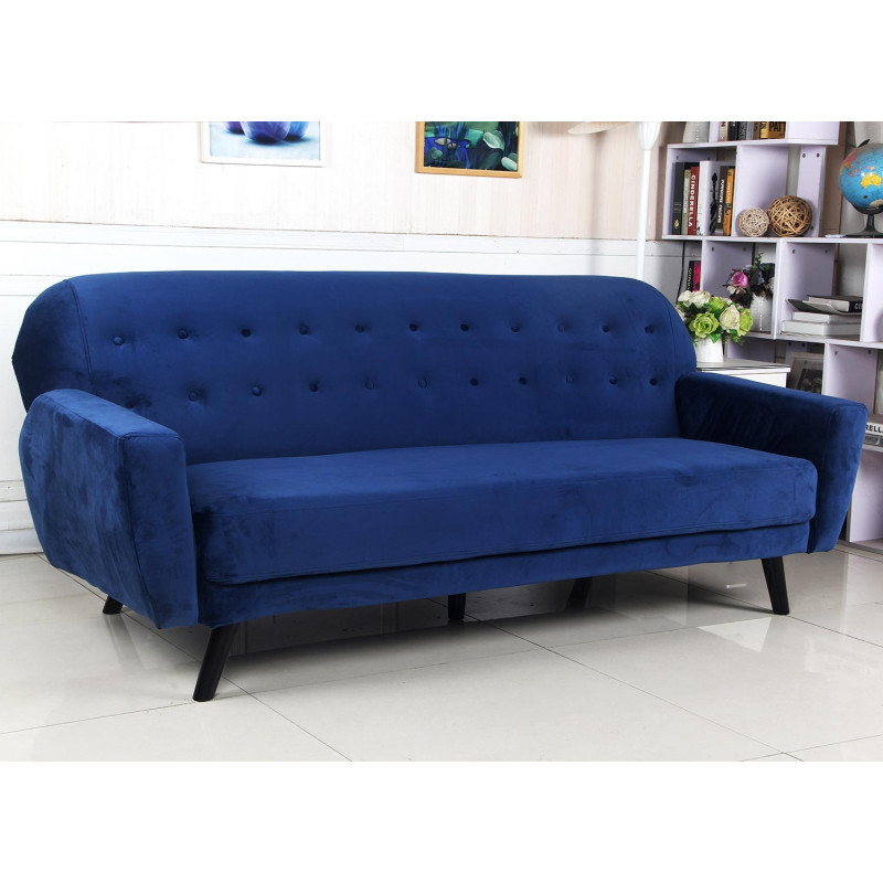 canap scandinave convertible velours bleu muka pas cher. Black Bedroom Furniture Sets. Home Design Ideas