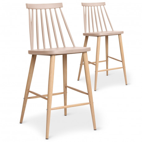 Lot de 2 chaises de bar scandinaves Beige pas cher