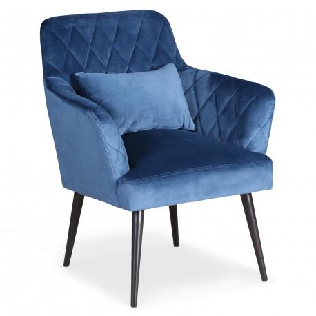 Fauteuil scandinave Acate Velours Bleu pas cher
