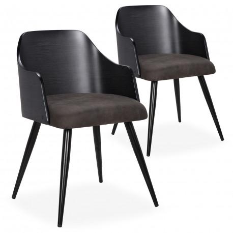 Chaises scandinaves salle à manger Bois Noir et Tissu Gris Foncé (Lot de 2) pas cher