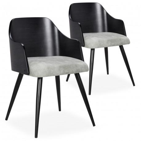 Chaises scandinaves salle à manger Bois Noir et Tissu Gris clair (Lot de 2) pas cher