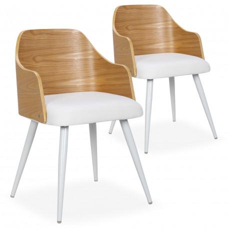 Chaises scandinaves salle à manger Bois Chêne et Simili Blanc (Lot de 2) pas cher