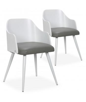 Chaises scandinaves salle à manger Bois Blanc et Simili Gris (Lot de 2) pas cher