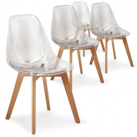 Chaise scandinave Transparente plexiglas (Lot de 4) pas cher