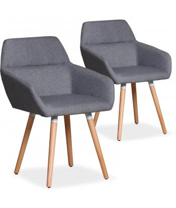 Lot de 2 chaises / Fauteuils scandinaves Kurga Tissu Gris Clair pas cher