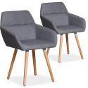 Lot de 2 chaises / Fauteuils scandinaves Kurga Tissu Gris Clair