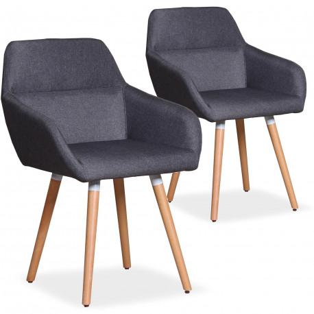 Lot de 2 chaises / Fauteuils scandinaves Kurga Tissu Gris Foncé pas cher