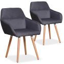 Lot de 2 chaises / Fauteuils scandinaves Kurga Tissu Gris Foncé
