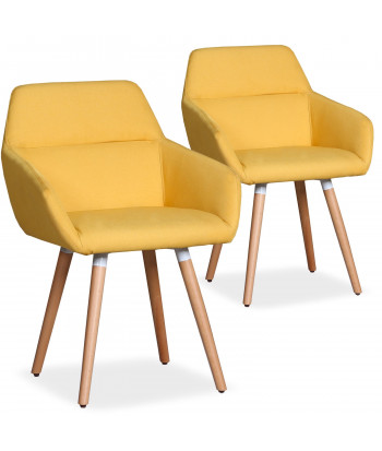 Lot de 2 chaises / Fauteuils scandinaves Kurga Tissu Jaune pas cher