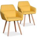 Lot de 2 chaises / Fauteuils scandinaves Kurga Tissu Jaune