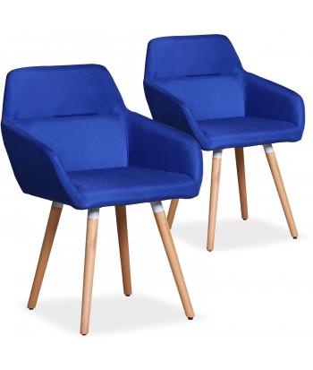 Lot de 2 chaises / Fauteuils scandinaves Kurga Tissu Bleu pas cher