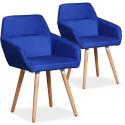Lot de 2 chaises / Fauteuils scandinaves Kurga Tissu Bleu