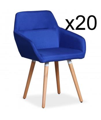 Lot de 20 chaises / Fauteuils scandinaves Kurga Tissu Bleu pas cher