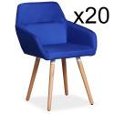 Lot de 20 chaises / Fauteuils scandinaves Kurga Tissu Bleu