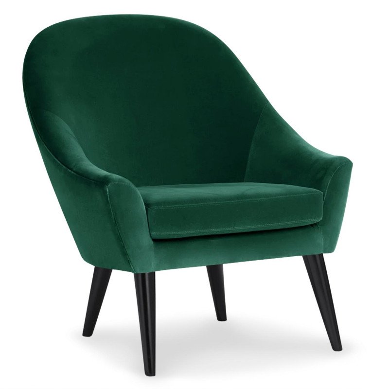 fauteuil scandinave velours vert ohio pas cher. Black Bedroom Furniture Sets. Home Design Ideas